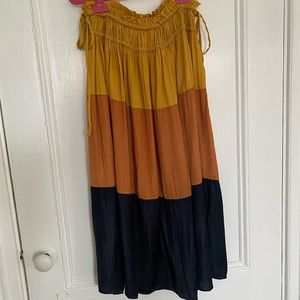 Anthropologie Tiered Color-block silky skirt